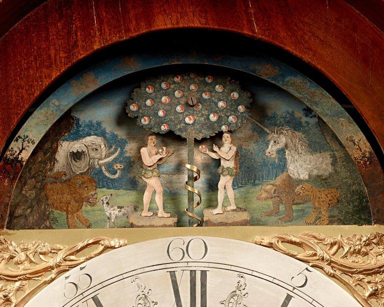 Mahogany George III Adam and Eve Automaton Longcase Clock For Sale