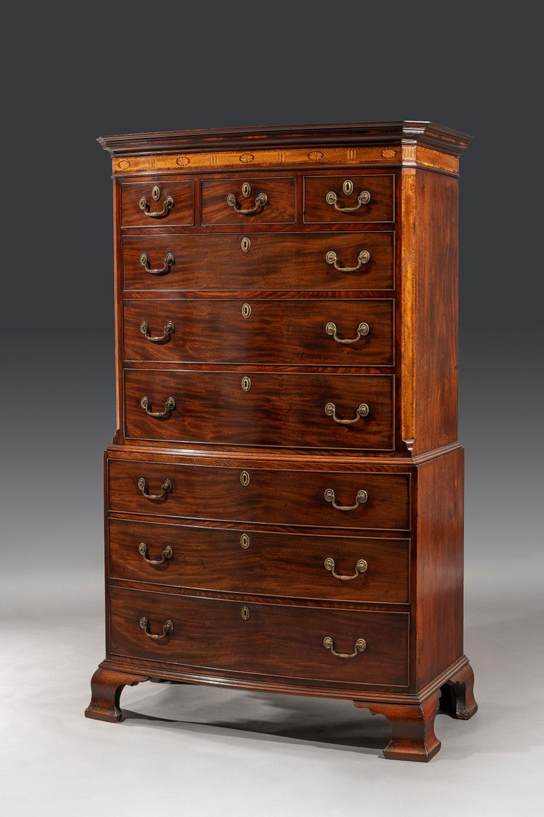 British George III Adam Period 18th Century Bow-Fronted Inlaid Chest on Chest For Sale