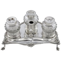 George III Antique Silver Ink Stand