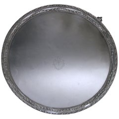 George III Antique Silver Salver of Circular Form
