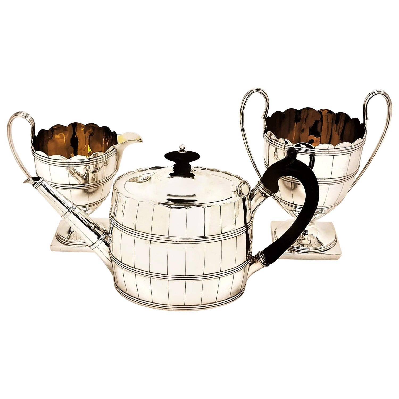 George III Antique Silver Three Piece Tea Set 1786-1787 Teapot, Cream Jug, Sugar