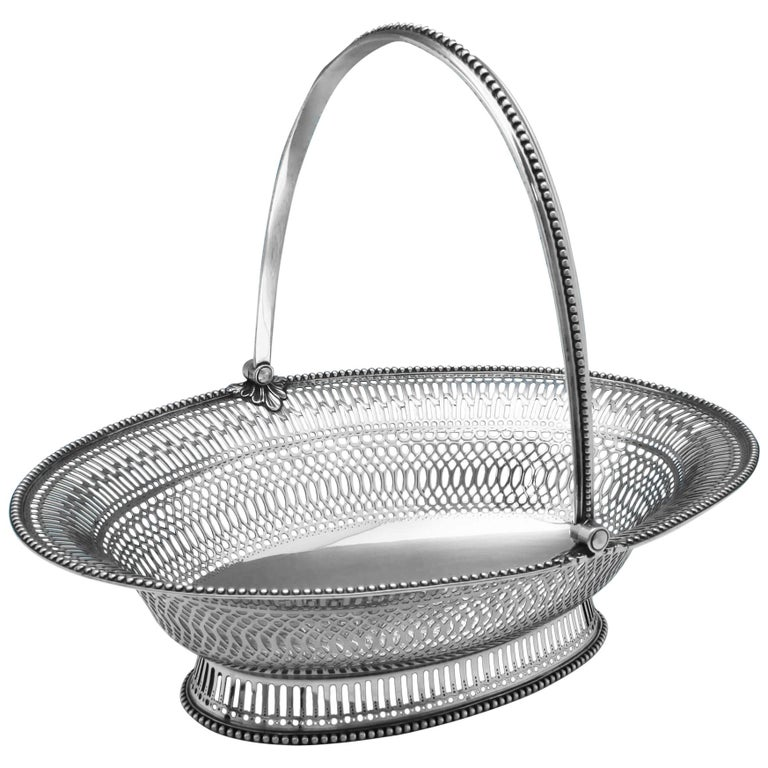 George III Antique Sterling Silver Basket Made by William Plummer in 1781 For Sale
