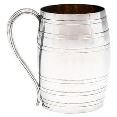 George III Antique Sterling Silver 'Beer Barrel' Mug 1778 by Lewis Pantin II