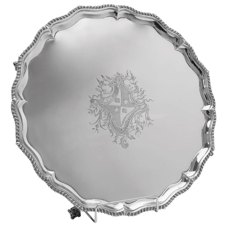 George III Antique Sterling Silver Salver by Hannam & Crouch, London, 1772 For Sale