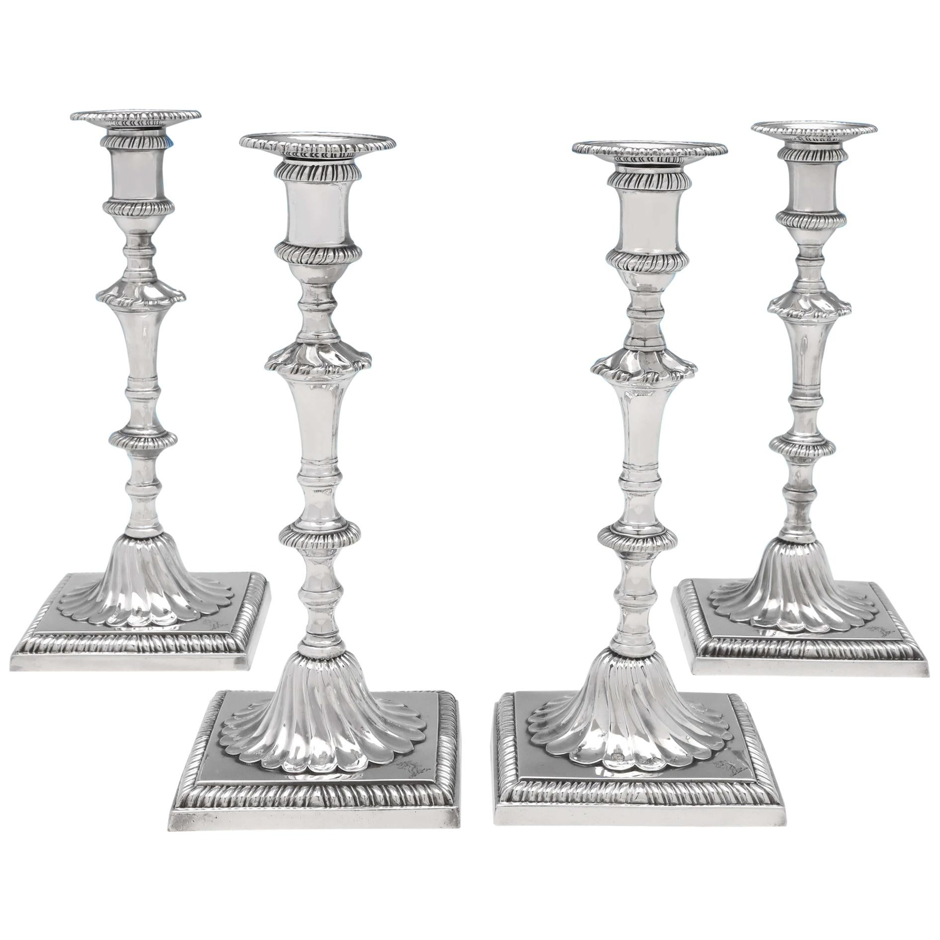 George III Antique Sterling Silver Set of Four Cast Candlesticks by John Cafe
