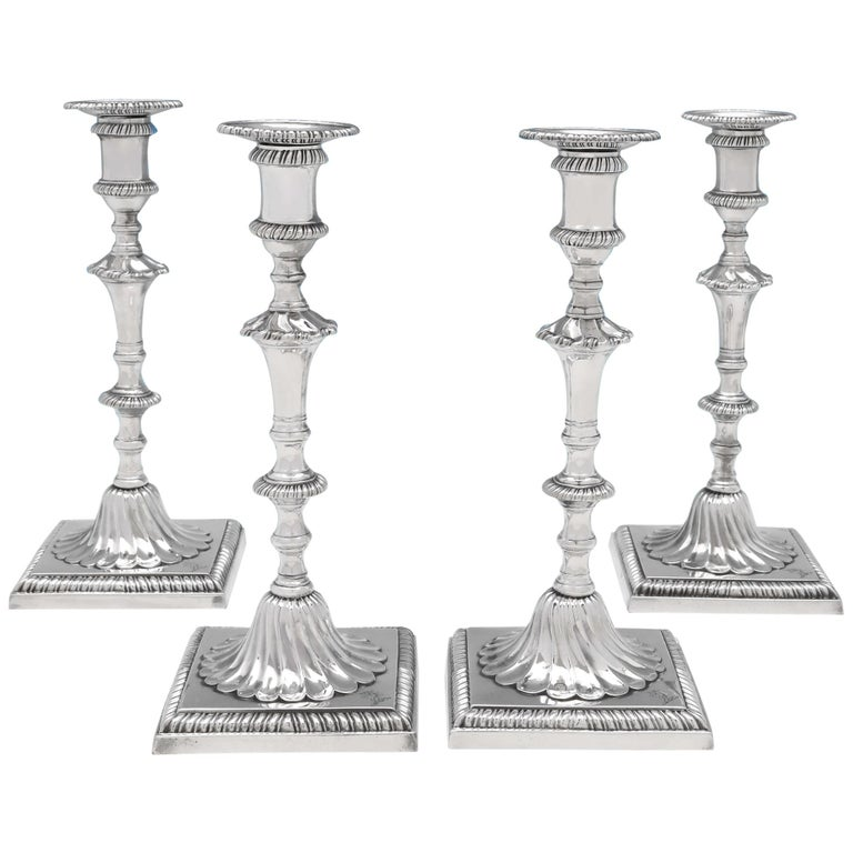 George III Antique Sterling Silver Set of Four Cast Candlesticks by John Cafe For Sale