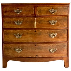 George III Bow Fronted Flamed Mahogany Chest of Drawers, 19th Century circa 1820