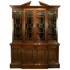 George III Breakfront Bookcase in Mahogany with Broken Pediment Cornice