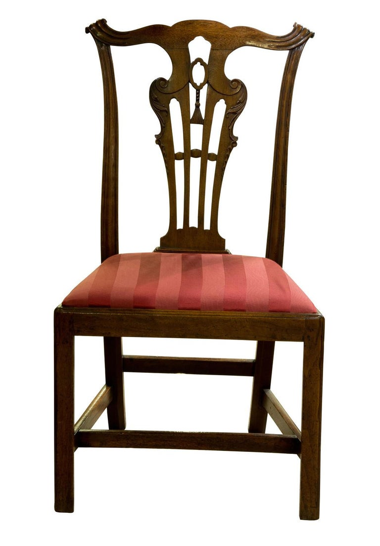 Early George III carved walnut standard chair in the manner of John Whitby of Mount Street London, very similar pat to the Wardour Castle chairs he supplied in the late 1750s. Chairmaker stamp R.R. to back rail circa 1760.