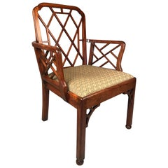 George III Chinese Chippendale Period Cockpen Armchair
