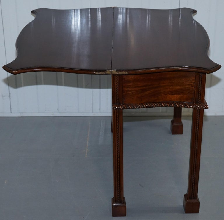 George III Chippendale Style Fold over Tea Card Table Lovely Period Features For Sale 11