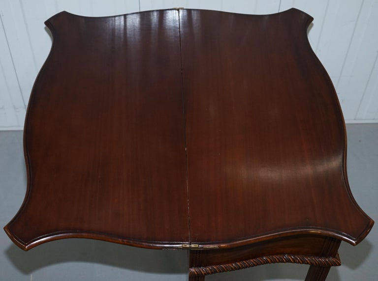 George III Chippendale Style Fold over Tea Card Table Lovely Period Features For Sale 12