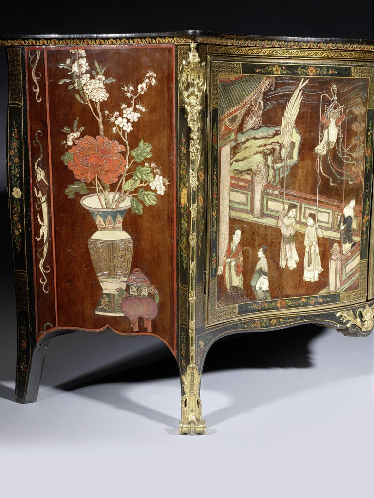 English George III Coromandel Lacquer, Gilt Brass-Mounted Serpentine Commode For Sale