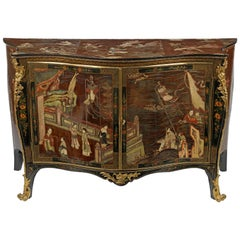 George III Coromandel Lacquer, Gilt Brass-Mounted Serpentine Commode
