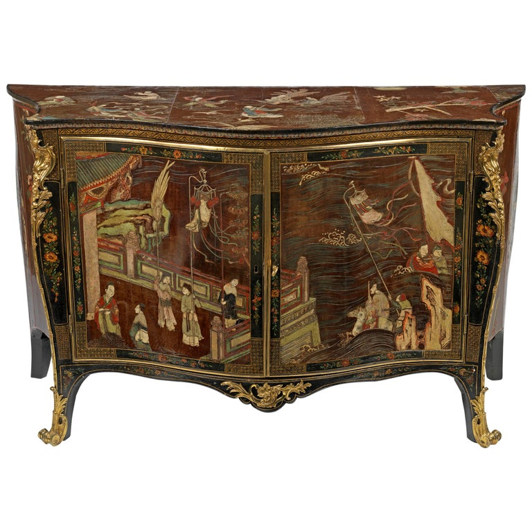 George III Coromandel Lacquer, Gilt Brass-Mounted Serpentine Commode For Sale