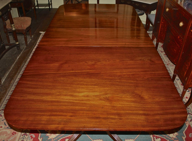 19th Century George III Double Pedestal Mahogany Dining Table For Sale