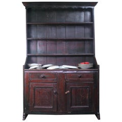 George III Early 19th Century Original Painted Maroon Pine Welsh Dresser