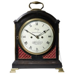 George III Ebonized Eight-Day Twin Fusee Table Clock by O. Hamley