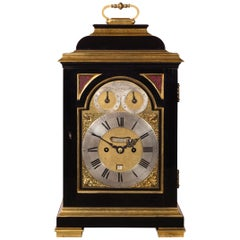 Fine George III Ebony Bracket Clock with Pull Quarter Repeat on Six Bells, By...
