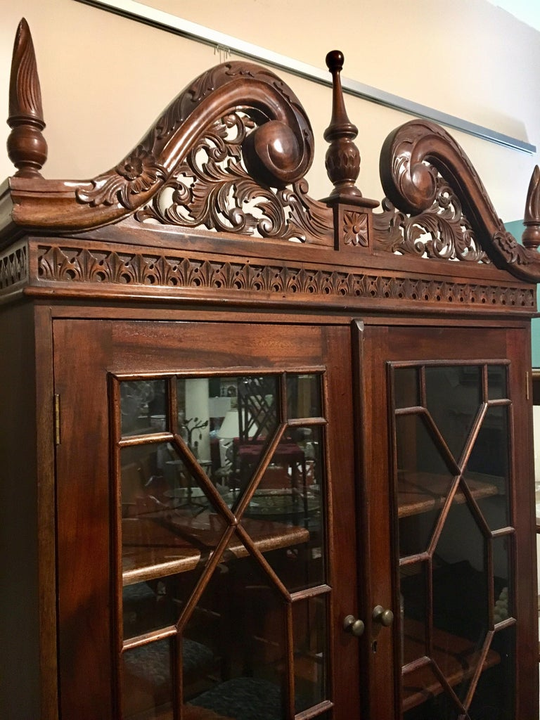 George III England Antique Mahogany Secretaire Secretary Desk Bureau Bookcase  For Sale 6