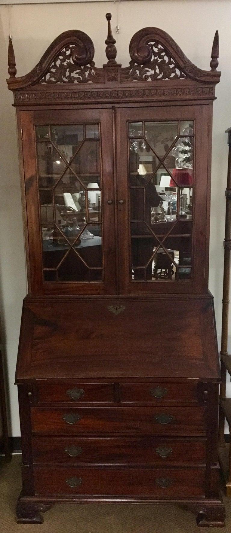 Antique Drop Front Secretary Desk >> George Iii England Antique Mahogany Secretaire Secretary Desk Bureau Bookcase