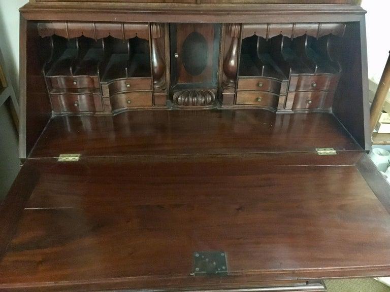 George III England Antique Mahogany Secretaire Secretary Desk Bureau Bookcase  For Sale 2