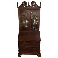 George III England Antique Mahogany Secretaire Secretary Desk Bureau Bookcase
