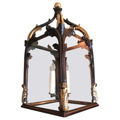19th C. Large Antique Hand Carved Wood Lantern Hanging Ceiling Light Pendant LA