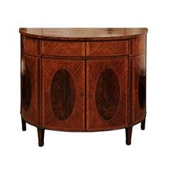 George III English Inlaid Mahogany Demilune Cabinet, circa 1800