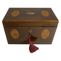 George III English Inlaid Mahogany Tea Caddy, circa 1820