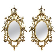 George III English Rococo Giltwood Mirrors in Chippendale Manner