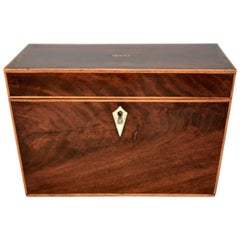 George III Flamed Mahogany Canted Side Tea Caddy, circa 1810