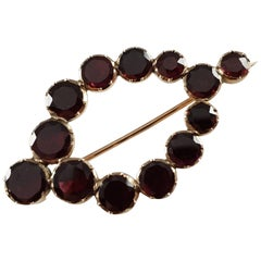 George III Gold Flat Cut Foiled-Backed Almandine Garnet Brooch
