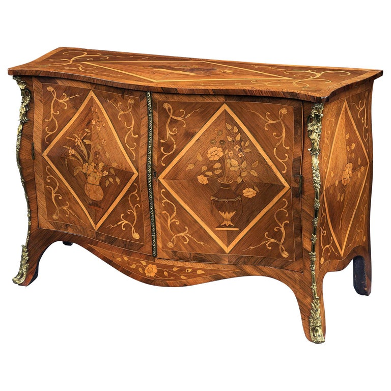 George III Harewood and Rosweood Commode, Attributed to Pierre Langlois For Sale