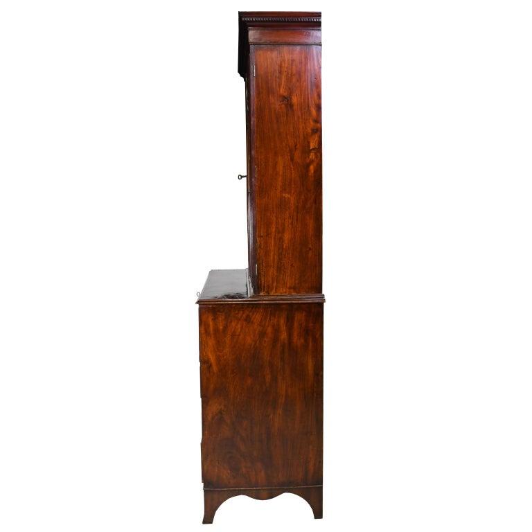 English George III/ Hepplewhite Bookcase in Mahogany, Drawer-Front Secretary, circa 1810 For Sale