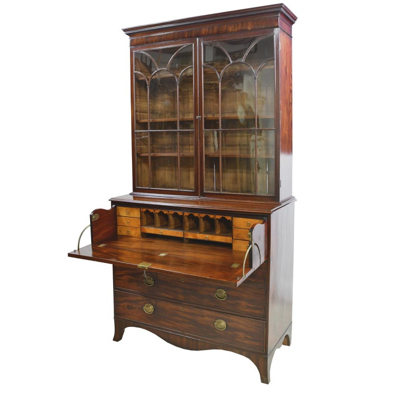 Cross-Banded George III/ Hepplewhite Bookcase in Mahogany, Drawer-Front Secretary, circa 1810 For Sale