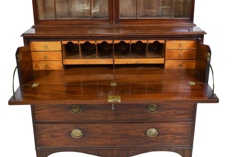 19th Century George III/ Hepplewhite Bookcase in Mahogany, Drawer-Front Secretary, circa 1810 For Sale