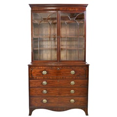 George III/ Hepplewhite Bookcase in Mahogany, Drawer-Front Secretary, circa 1810