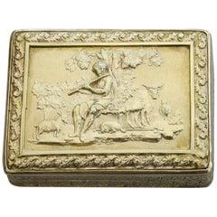 George III Large Silver Gilt 'Shepherd Boy' Vinaigrette, Swan Grille, 1813