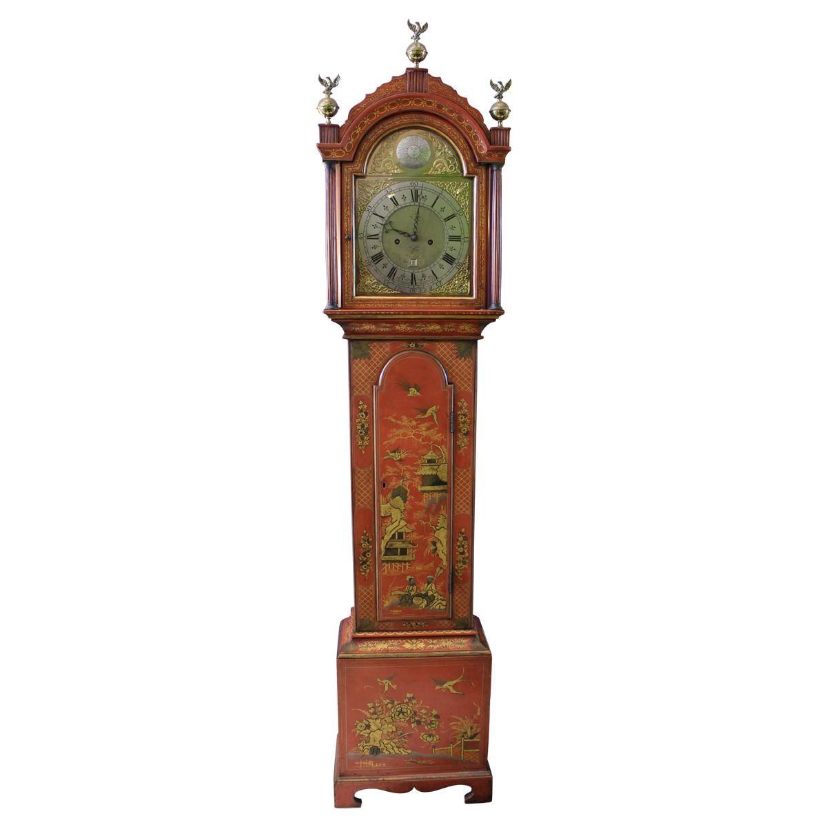 George III Later Scarlet Japanned Long Case Thomas Moore Clock