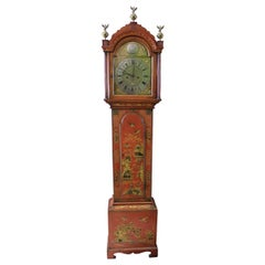 George III Later Scarlet Japanned Long Case Thomas Moore Clock