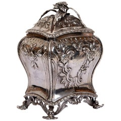George III London Sterling Silver Tea Caddy by Samuel Herbert & Co, circa 1766