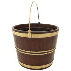 George III Mahogany and Brass Bound Oval Pail