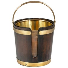 George III Mahogany and Brass-Bound Plate Bucket