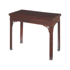 George III Mahogany and Crossbanded Blind Fret Carved Card Table