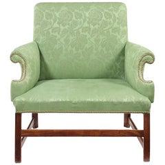 George III. Stil, Mahagoni und grünes Brokat, gepolstert, Gainsborough Typ, Zweiersofa