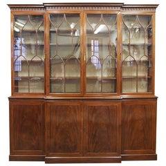 George III Mahogany and Inlaid 4-Door Breakfront Bookcase