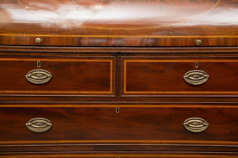 George III Mahogany and Satinwood Secretary Bookcase, 18th Century In Good Condition For Sale In WEST PALM BEACH, FL