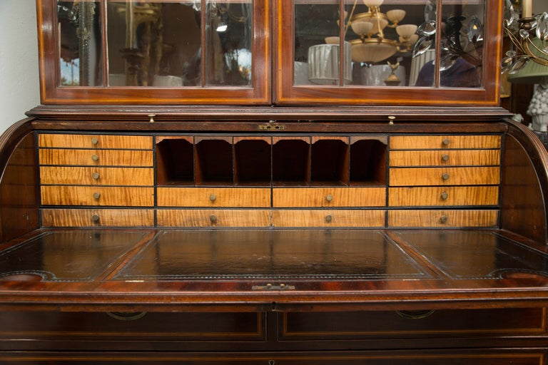 18th Century and Earlier George III Mahogany and Satinwood Secretary Bookcase, 18th Century For Sale