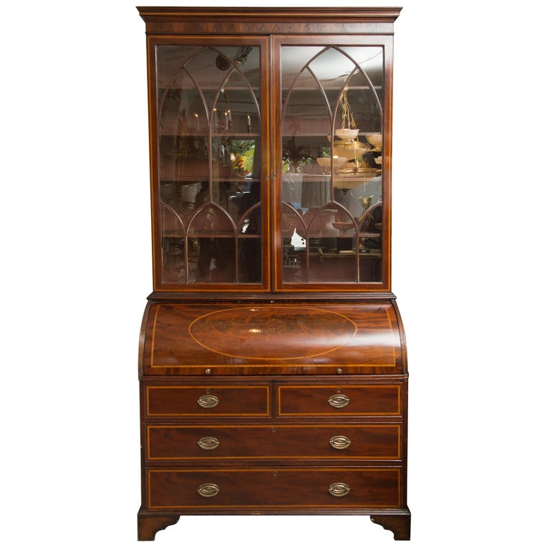 George III Mahogany and Satinwood Secretary Bookcase, 18th Century For Sale